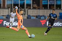 SAN JOSE, CA - SEPTEMBER 19: Aljaz Ivacic #31 of the Portland Timbers kicks the ball during a game between Portland Timbers and San Jose Earthquakes at Earthquakes Stadium on September 19, 2020 in San Jose, California.