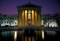 AJ4304, Philadelphia, museum, Pennsylvania, Philadelphia Museum of Art illuminated at night in downtown Philadelphia in the state of Pennsylvania.