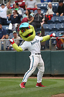Everett AquaSox mascot Webbly throws T-shirts to the fans during a game against the Spokane Indians at Everett Memorial Stadium on July 24, 2015 in Everett, Washington. Everett defeated Spokane, 8-6. (Larry Goren/Four Seam Images)
