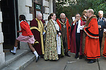 Beating the Bounds at St Botolph without Aldgate London. Ward of Portsoken City of London 2011. Children from the Sir John Cass's Foundation Primary. The Lord mayor of the City of London Alderman Michael Bear and various dignitaries.