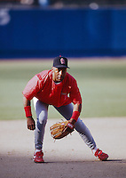 Ozzie Smith of the St.Louis Cardinals at Dodger Stadium in Los Angeles,California during the 1996 season. (Larry Goren/Four Seam Images)