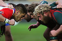 The front rows prepare to engage during the Heartland Championship friendly rugby match between Horowhenua Kapiti and Wairarapa Bush at Westpac Stadium, Wellington, New Zealand on Saturday, 26 May 2012. Photo: Dave Lintott / lintottphoto.co.nz