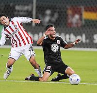 DC United midfielder Joe Vide (3) gets fouled by Chivas USA forward Alecko Eskandarian (7). Chivas USA defeated DC United 3-0, Saturday October 4, 2008 at RFK Stadium.