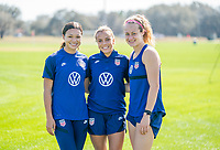 ORLANDO, FL - JANUARY 20: Sophia Smith #25, Mallory Pugh #2 and Jaelin Howell #26 of the USWNT pose for a photo after a training session at the practice fields on January 20, 2021 in Orlando, Florida.