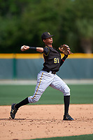 Pittsburgh Pirates Alfredo Reyes (91) during a minor league Spring Training intrasquad game on April 3, 2016 at Pirate City in Bradenton, Florida.  (Mike Janes/Four Seam Images)