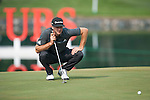 Dustin Johnson of USA ponders his next shot during Hong Kong Open golf tournament at the Fanling golf course on 23 October 2015 in Hong Kong, China. Photo by Xaume Olleros / Power Sport Images
