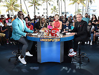 """MIAMI BEACH, FL - JANUARY 31: Lil Wayne joins Shannon Sharpe, Jenny Taft, and Skip Bayless on the set of """"Skip & Shannon: Undisputed"""" on the Fox Sports South Beach studio during Super Bowl LIV week on January 31, 2020 in Miami Beach, Florida. (Photo by Frank Micelotta/Fox Sports/PictureGroup)"""