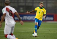 13th October 2020; National Stadium of Peru, Lima, Peru; FIFA World Cup 2022 qualifying; Peru versus Brazil;  Douglas Luiz of Brazil comes into attack on the ball