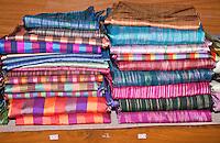 Myanmar, Burma.  Silk Fabric, Inle Lake, Shan State.