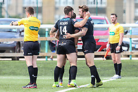 Ben Hellewell of London Broncos (right) celebrates with Andy Ackers of London Broncos (14) after he scores his team's third try  to make the score 16-0 during the Kingstone Press Championship match between London Broncos and Sheffield Eagles at Castle Bar , West Ealing , England  on 9 July 2017. Photo by David Horn.