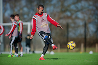 SWANSEA, WALES - FEBRUARY 17: Wayne Routledge of Swansea City  in action  during training session at the Fairwood training ground on February 17, 2015 in Swansea, Wales.  (Photo by Athena Pictures )