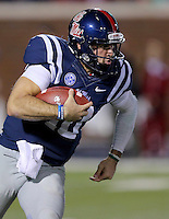 11/7/15<br /> Arkansas Democrat-Gazette/STEPHEN B. THORNTON<br /> Ole Miss's  QB Chad Kelly makes a long run in the fourth quarter  during  Saturday's game in Oxford, Miss. Kelly ran for 110 yards.