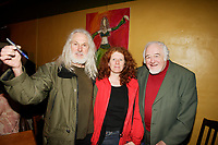 Sculptor Armand Vaillancourt (L) and Raymond Levesque (R) at  the Launch of  Marie Marine album. April 25 2006 at Divan Orange in Montreal.<br /> <br /> Marie Marine is the daughter of French Canadian singer Raymond Levesque.<br /> PHOTO : Agence Quebec Presse