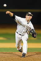 Wake Forest Demon Deacons relief pitcher Nate Jones #42 delivers a pitch to the plate against the Florida State Seminoles at Wake Forest Baseball Park on March 24, 2012 in Winston-Salem, North Carolina.  The Seminoles defeated the Demon Deacons 3-2.  (Brian Westerholt/Four Seam Images)