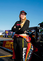 Nov 17, 2019; Pomona, CA, USA; NHRA top fuel driver Brittany Force reacts after being eliminated from championship contention during the Auto Club Finals at Auto Club Raceway at Pomona. Mandatory Credit: Mark J. Rebilas-USA TODAY Sports