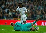 Real Madrid CF's Vinicius Jr falls under the pressure of Ter Stegen La Liga match. Mar 01, 2020. (ALTERPHOTOS/Manu R.B.)