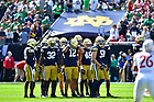 September 25, 2021; The defense readies for the next play during the Shamrock Series game at Soldier Field in Chicago. (photo by Matt Cashore)