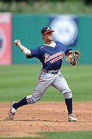 Michael Chavis (1) of Sprayberry High School in Marietta, Georgia playing for the Atlanta Braves scout team during the East Coast Pro Showcase on July 31, 2013 at NBT Bank Stadium in Syracuse, New York.  (Mike Janes/Four Seam Images)