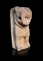 Hittite monumental relief sculpture of a lion. Adana Archaeology Museum, Turkey. Against a black background