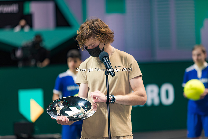 Rotterdam, The Netherlands,7 march  2021, ABNAMRO World Tennis Tournament, Ahoy,  <br /> Final: Finalist Andrey Rublev (RUS) receives price.<br /> Photo: www.tennisimages.com/