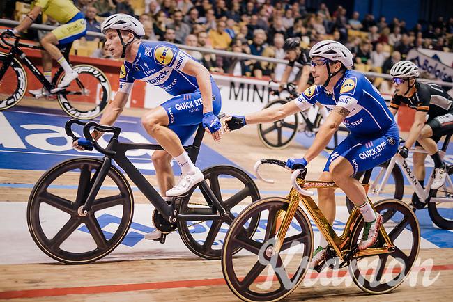 Iljo Keisse (BEL/Deceuninck-QuickStep) & Elia Viviani (ITA/Deceuninck-QuickStep) <br /> <br /> Lotto 6daagse Vlaanderen-Gent 2018 / Gent6<br /> day 5