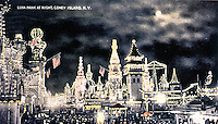 New York:  Coney Ishand, Luna Park at Night. Koolhaas postcard.