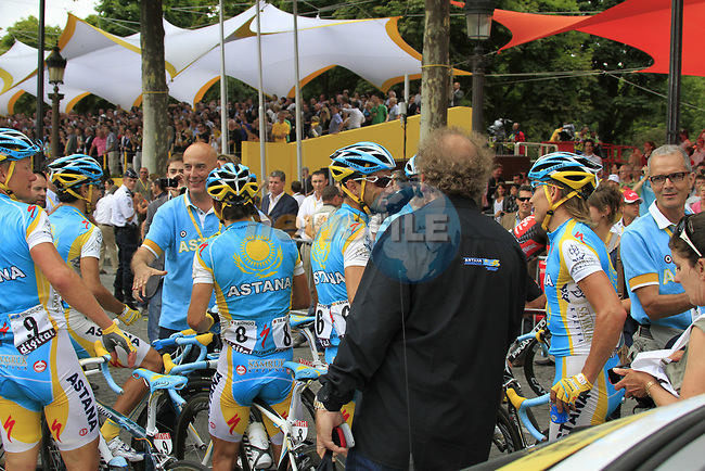Astana team after crossing the finish line at the end of the final Stage 20 of the 2010 Tour de France running 102.5km from Longjumeau to Paris Champs-Elysees, France. 25th July 2010.<br /> (Photo by Eoin Clarke/NEWSFILE).<br /> All photos usage must carry mandatory copyright credit (© NEWSFILE | Eoin Clarke)