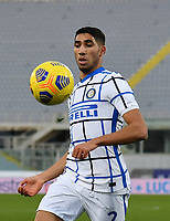 Football Soccer: Tim Cup Round of 16 Fiorentina - FC Internazionale Milano, Artemio Franchi  stadium, Florence, January 13, 2021. <br /> Inter's Achraf Hakimi in action during the Italian Tim Cup football match between Fiorentina and Inter at Florence's Artemio Franchi stadium, on January 13, 2021.  <br /> UPDATE IMAGES PRESS/Isabella Bonotto