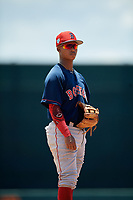 GCL Red Sox third baseman Nilo Rijo (24) during a Gulf Coast League game against the GCL Orioles on July 29, 2019 at Ed Smith Stadium in Sarasota, Florida.  GCL Red Sox defeated the GCL Pirates 9-1.  (Mike Janes/Four Seam Images)