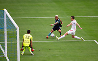 CARSON, CA - APRIL 25: Julian Araujo #2  of the Los Angeles Galaxy takes a shot during a game between New York Red Bulls and Los Angeles Galaxy at Dignity Health Sports Park on April 25, 2021 in Carson, California.