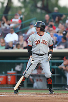 Ryder Jones (9) of the San Jose Giants bats during a game against the Inland Empire 66ers at San Manuel Stadium on May 30, 2015 in San Bernardino, California. Inland Empire defeated San Jose, 6-4. (Larry Goren/Four Seam Images)