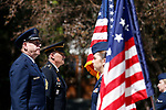 Brig. Gen. William Burks, left, and Sgt. Maj. Jared Kopacki say the Pledge of Allegiance during the annual Flag Day ceremony at the Nevada Veterans Memorial on the Capitol grounds in Carson City, Nev., on Friday, June 14, 2019. <br /> Photo by Cathleen Allison/Nevada Momentum