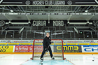 Switzerland. Canton Ticino. Lugano. Chris McSorley stands on the ice at Cornèr Arena. He is the head coach of HC Lugano. Hockey Club Lugano, often abbreviated HC Lugano or HCL, is an ice hockey club based in Lugano. Resega Stadium was renamed the Cornèr Arena in recognition of the partnership between Hockey Club Lugano and Cornèr Bank. 9.09.21 © 2021 Didier Ruef