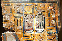 Egyptian painting on stucco of the defied Pharaoh Amenhotep I . 11152-1145BC, Thebes, Grab Nr 359. Neues  Museum, Berlin. Cat No AM2061