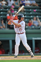 Designated hitter Tyler Spoon (15) of the Greenville Drive bats in a game against the Lakewood BlueClaws on Sunday, June 26, 2016, at Fluor Field at the West End in Greenville, South Carolina. Greenville won, 2-1. (Tom Priddy/Four Seam Images)