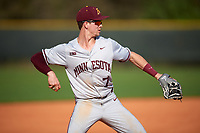 Minnesota Golden Gophers third baseman Jordan Kozicky (7) throws to first while warming up in between innings during a game against the Boston College Eagles on February 23, 2018 at North Charlotte Regional Park in Port Charlotte, Florida.  Minnesota defeated Boston College 14-1.  (Mike Janes/Four Seam Images)