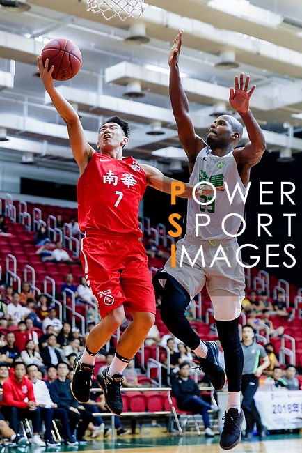 Lam Hoi Kwong #7 of SCAA Men's Basketball Team attempts to score against Austin Bryant M #23 of Tycoon Basketball Team during the Hong Kong Basketball League game between Tycoon and SCAA at Southorn Stadium on May 23, 2018 in Hong Kong. Photo by Yu Chun Christopher Wong / Power Sport Images