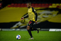4th November 2020; Vicarage Road, Watford, Hertfordshire, England; English Football League Championship Football, Watford versus Stoke City; Christian Kabasele (Watford) comes forward on the ball