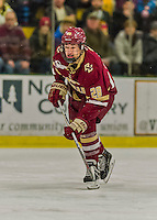 19 February 2016: Boston College Eagle Forward Miles Wood, a Freshman from Manchester, MA, in first period action against the University of Vermont Catamounts at Gutterson Fieldhouse in Burlington, Vermont. The Eagles defeated the Catamounts 3-1 in the first game of their weekend series. Mandatory Credit: Ed Wolfstein Photo *** RAW (NEF) Image File Available ***
