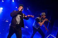 Die Hip-Hop-Gruppe Antilopen Gang aus Duesseldorf, Koeln und Berlin spielte am Samstag den 14. Maerz 2015 im ausverkauften Berliner Club SO36.<br /> Die Band besteht aus den Rappern Koljah Kolerikah, Panik Panzer (rechts) und Danger Dan (links) und steht beim Toten Hosen-Label JKP unter Vertrag.<br /> 14.3.2015, Berlin<br /> Copyright: Christian-Ditsch.de<br /> [Inhaltsveraendernde Manipulation des Fotos nur nach ausdruecklicher Genehmigung des Fotografen. Vereinbarungen ueber Abtretung von Persoenlichkeitsrechten/Model Release der abgebildeten Person/Personen liegen nicht vor. NO MODEL RELEASE! Nur fuer Redaktionelle Zwecke. Don't publish without copyright Christian-Ditsch.de, Veroeffentlichung nur mit Fotografennennung, sowie gegen Honorar, MwSt. und Beleg. Konto: I N G - D i B a, IBAN DE58500105175400192269, BIC INGDDEFFXXX, Kontakt: post@christian-ditsch.de<br /> Bei der Bearbeitung der Dateiinformationen darf die Urheberkennzeichnung in den EXIF- und  IPTC-Daten nicht entfernt werden, diese sind in digitalen Medien nach §95c UrhG rechtlich geschuetzt. Der Urhebervermerk wird gemaess §13 UrhG verlangt.]