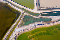 Multi-coloured aquaculture farmland near the city of Huanghua, south of Tianjin. This area of coastline has been identified as being particularly vulnerable to coastal erosion on will increasingly be threatened as sea levels rise and storm surges increase. 2019