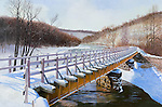 "Railroad bridge in winter snow landscape, a PRR branch line crossing Blacklick Creek in the Pennsylvania coal fields; present day scenic Ghost Town Rails to Trails, Vintondale, PA. Oil on canvas, 18"" x 27""."
