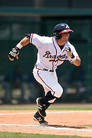 GCL Braves outfielder Joseph Daris (26) runs to first during a game against the GCL Blue Jays on June 27, 2014 at ESPN Wide World of Sports in Orlando, Florida.  GCL Braves defeated GCL Blue Jays 10-9.  (Mike Janes/Four Seam Images)