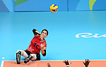 Felicia Voss-Shafiq, Rio 2016 - Sitting Volleyball // Volleyball assis.<br /> Canada competes against Rwanda in the Women's Sitting Volleyball Preliminary // Le Canada affronte le Rwanda dans le tournoi préliminaire de volleyball assis féminin. 15/09/2016.