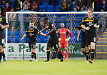 St Johnstone v Partick Thistle…08.08.17… McDiarmid Park.. Betfred Cup<br />Steven Lawless celebrates his penalty with Abdul Osman<br />Picture by Graeme Hart.<br />Copyright Perthshire Picture Agency<br />Tel: 01738 623350  Mobile: 07990 594431