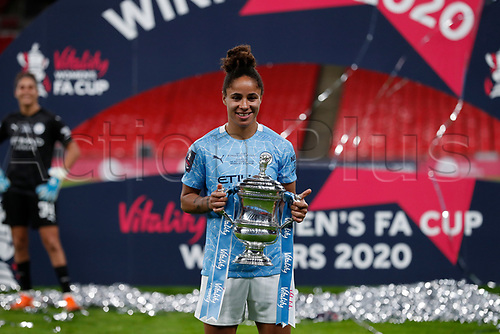 1st November 2020; Wembley Stadium, London, England; Womens FA Cup Final Football, Everton Womens versus Manchester City Womens; Demi Stokes of Manchester City Women posing with the  trophy