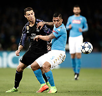 Football Soccer: UEFA Champions League Round of 16 second leg, Napoli-Real Madrid, San Paolo stadium, Naples, Italy, March 7, 2017. <br /> Napoli's Faouzi Ghoulam (r) in action with Real Madrid's Cristiano Ronaldo (l) during the Champions League football soccer match between Napoli and Real Madrid at the San Paolo stadium, 7 March 2017. <br /> Real Madrid won 3-1 to reach the quarter-finals.<br /> UPDATE IMAGES PRESS/Isabella Bonotto