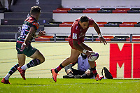 26th September 2020; Toulon, France; European Challenge Cup Rugby, semi-final; RC Toulon versus Leicester Tigers;  Bryce Heem (RC Toulon) touches down ahead of George Ford