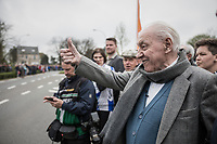 Tom Boonen's (BEL/Quick-Step Floors) grandad came outside of his nursing home (next to the official start of the race) to cheer his grandson on in his last ever (farewell) race on Belgian soil<br /> <br /> 105th Scheldeprijs 2017 (1.HC)<br /> 1 Day Race: Mol › Schoten (BEL/202km)