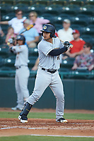 Eduardo Navas (20) of the Charleston RiverDogs at bat against the Hickory Crawdads at L.P. Frans Stadium on August 10, 2019 in Hickory, North Carolina. The RiverDogs defeated the Crawdads 10-9. (Brian Westerholt/Four Seam Images)